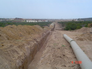 05 - Chatty Extension 12 & 13 - 450mm Dia Bulk Water line - Bedding placed