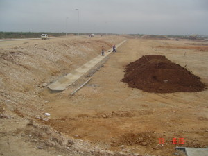 05 - Storm Water for Coega Industrial Zone 2 - Stormwater Low Flow Channel in Floor of Attenuation Pond